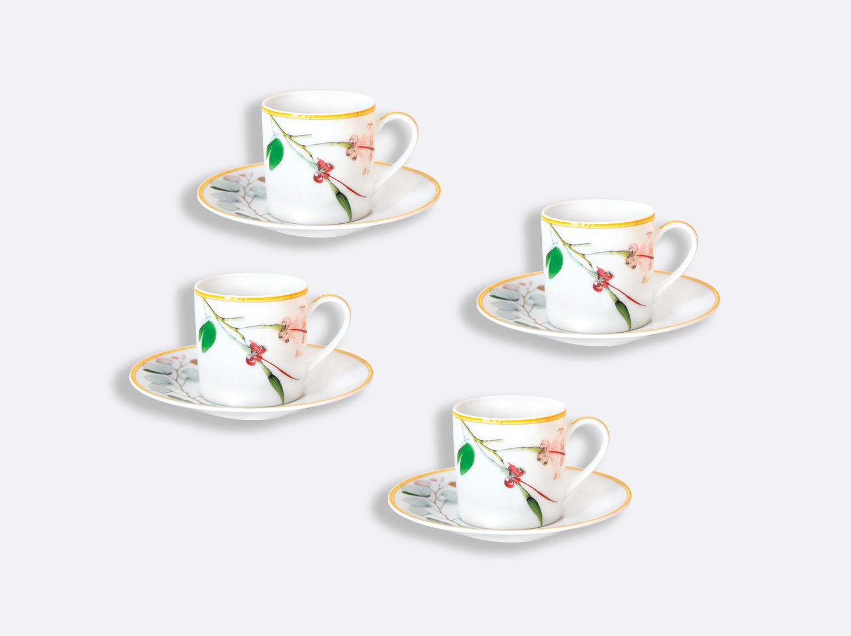 Tasse et soucoupe café 8 cl - Coffret 4 tasses en porcelaine de la collection Jardin indien Bernardaud