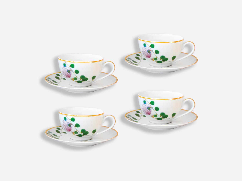 Tasse et soucoupe thé 13 cl - Coffret de 4 en porcelaine de la collection Jardin indien Bernardaud