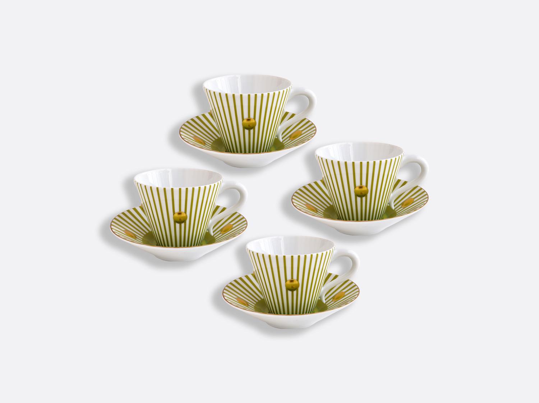 Coffret de tasses et soucoupes vert absinthe 13 cl - Coffret de 4 en porcelaine de la collection Delphos - Olivier Gagnère Bernardaud