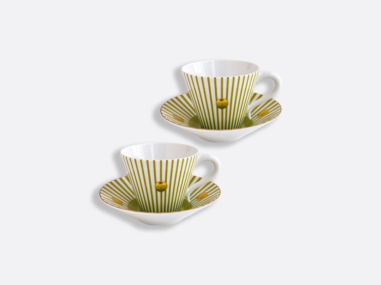 Coffret de tasses et soucoupes vert absinthe 13 cl - Coffret de 2 en porcelaine de la collection Delphos - Olivier Gagnère Bernardaud