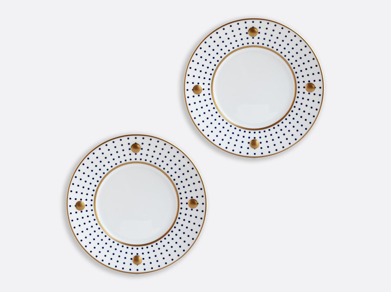 Coffret d'assiettes à dessert 21 cm bleu nuit en porcelaine de la collection Knossos - Olivier Gagnère Bernardaud