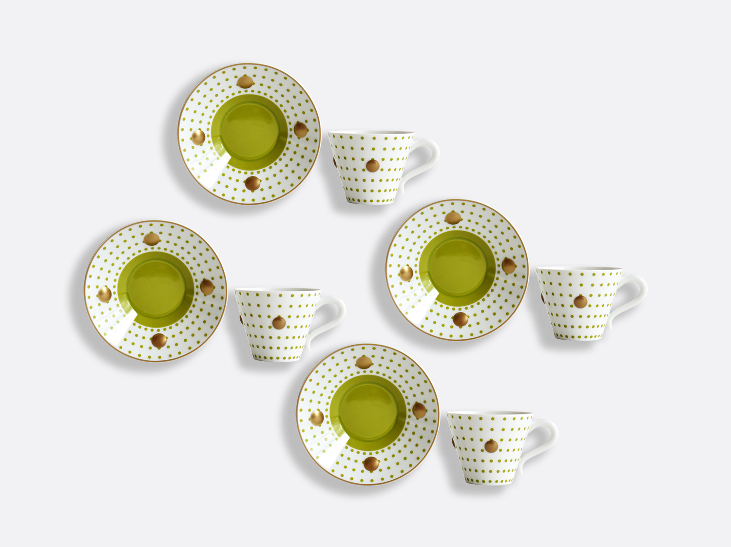 China Set of Absinthe green cups and saucers 13 cl - Set of 4 of the collection Knossos - Olivier Gagnère | Bernardaud