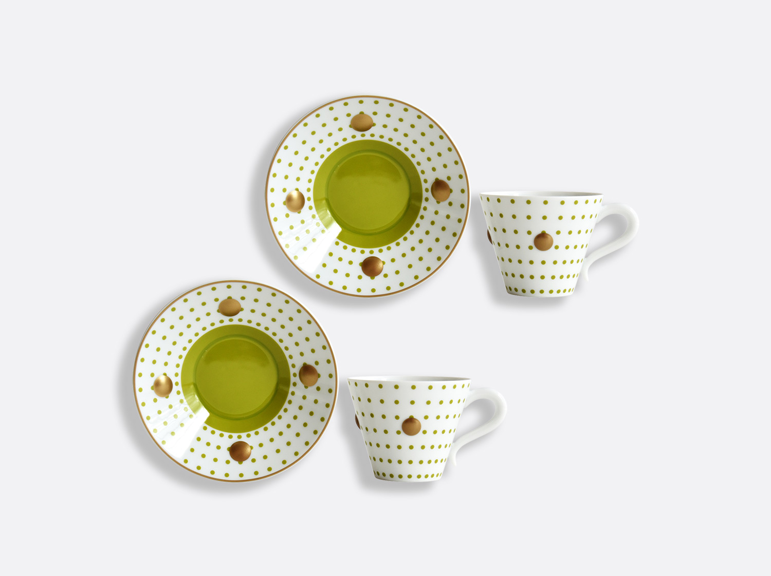 China Set of Absinthe green cups and saucers 13 cl - Set of 2 of the collection Knossos - Olivier Gagnère | Bernardaud