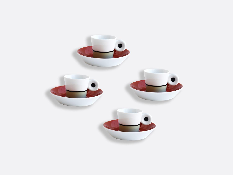 Coffret de tasses et soucoupes expresso 4 cl brique et lichen - Coffret de 4 en porcelaine de la collection IRAZU Bernardaud