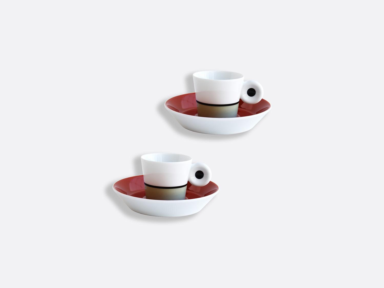 Coffret de tasses et soucoupes expresso 4 cl brique et lichen - Coffret de 2 en porcelaine de la collection IRAZU Bernardaud