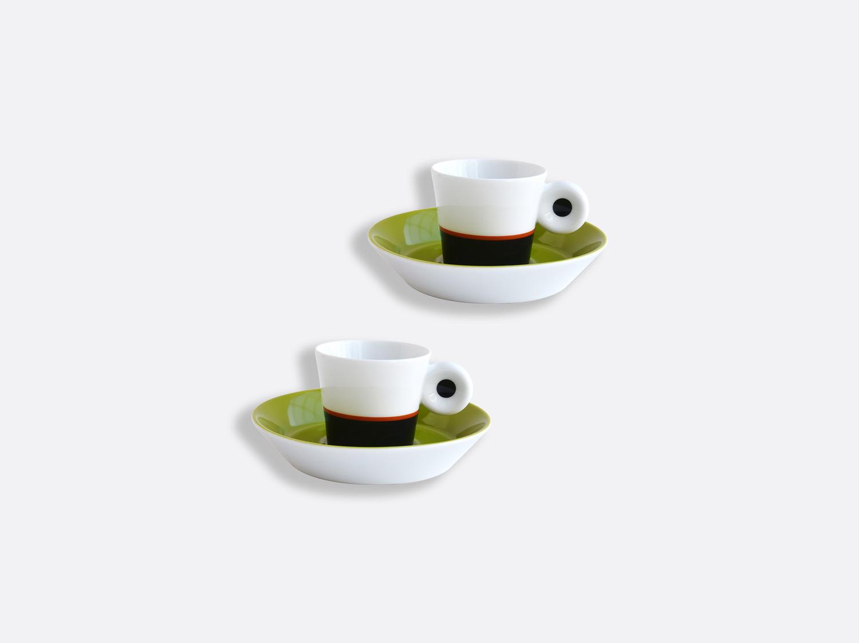 Coffret de tasses et soucoupes expresso absinthe et anthracite 4 cl  - Coffret de 2 en porcelaine de la collection IRAZU Bernardaud