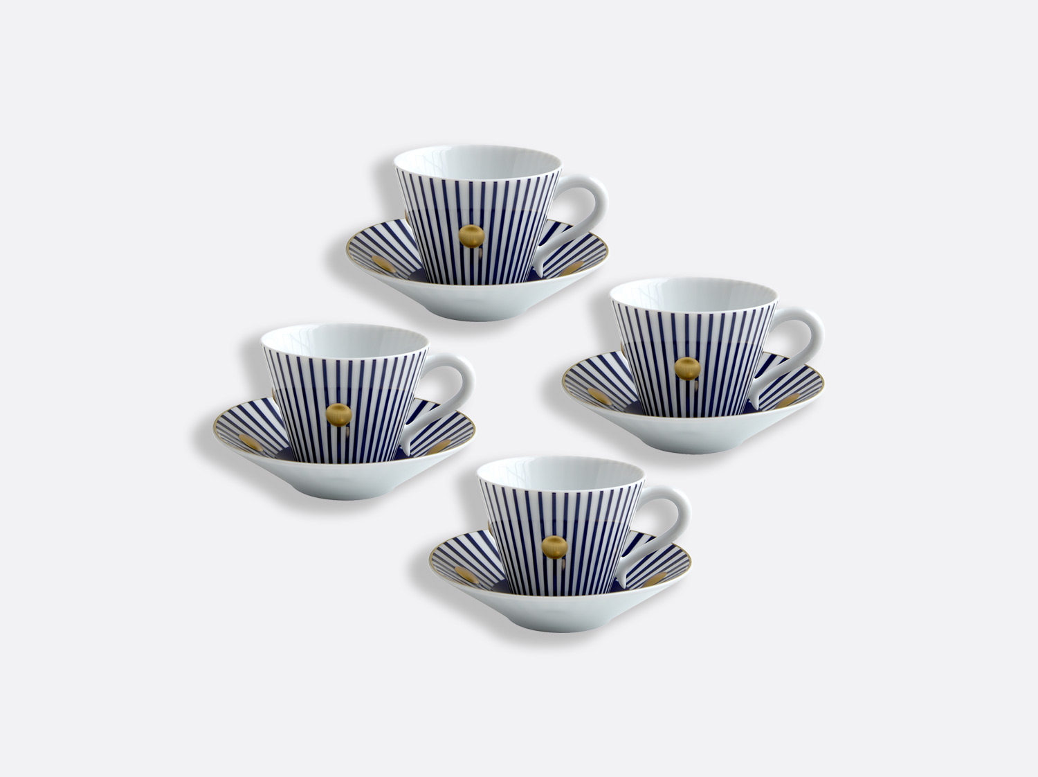 China Set of Night blue cups and saucers 13 cl - Coffret de 4 of the collection Delphos - Olivier Gagnère | Bernardaud