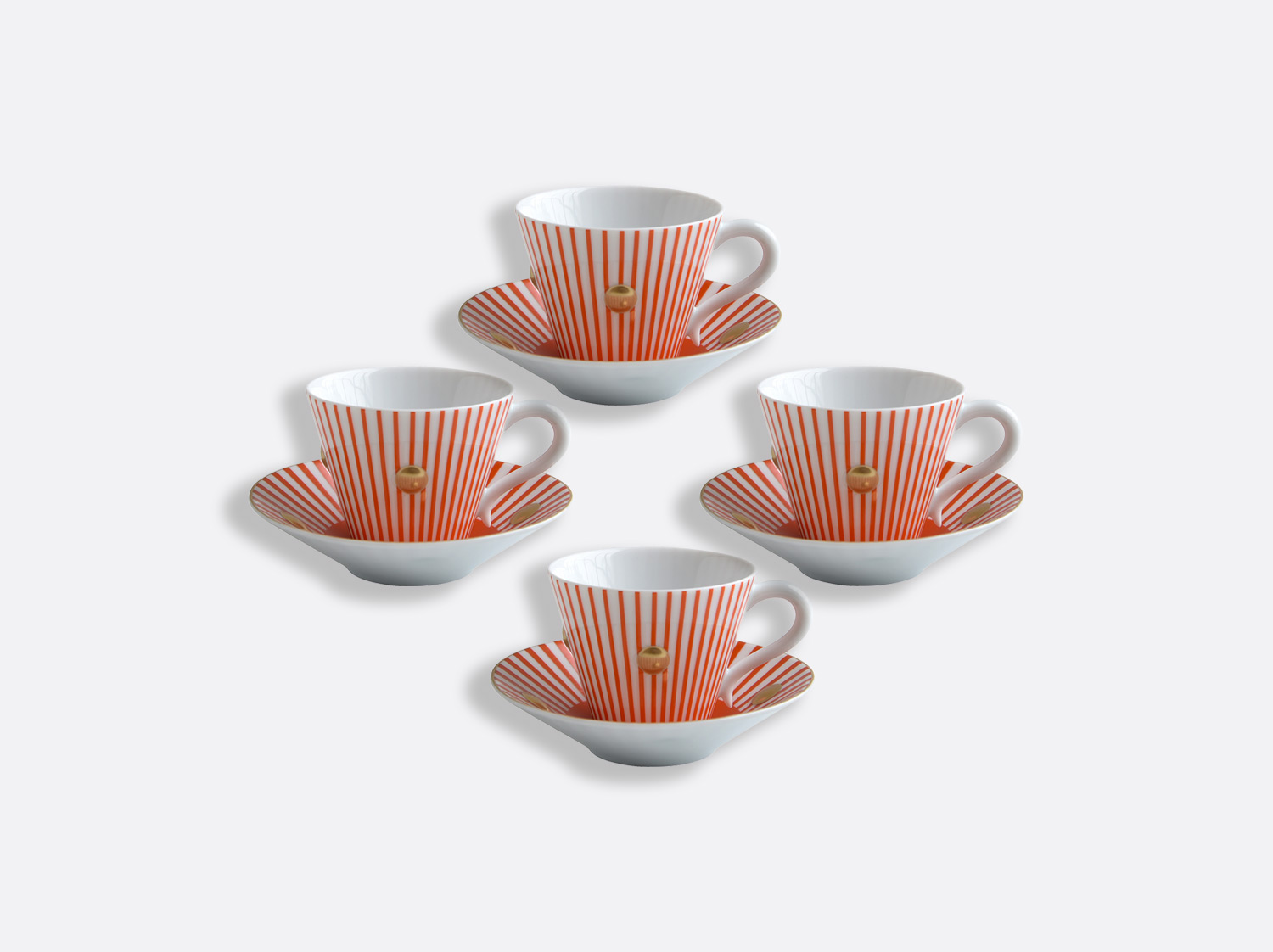 China Set of Brick red cups and saucers 13 cl - Set of 4 of the collection Delphos - Olivier Gagnère | Bernardaud