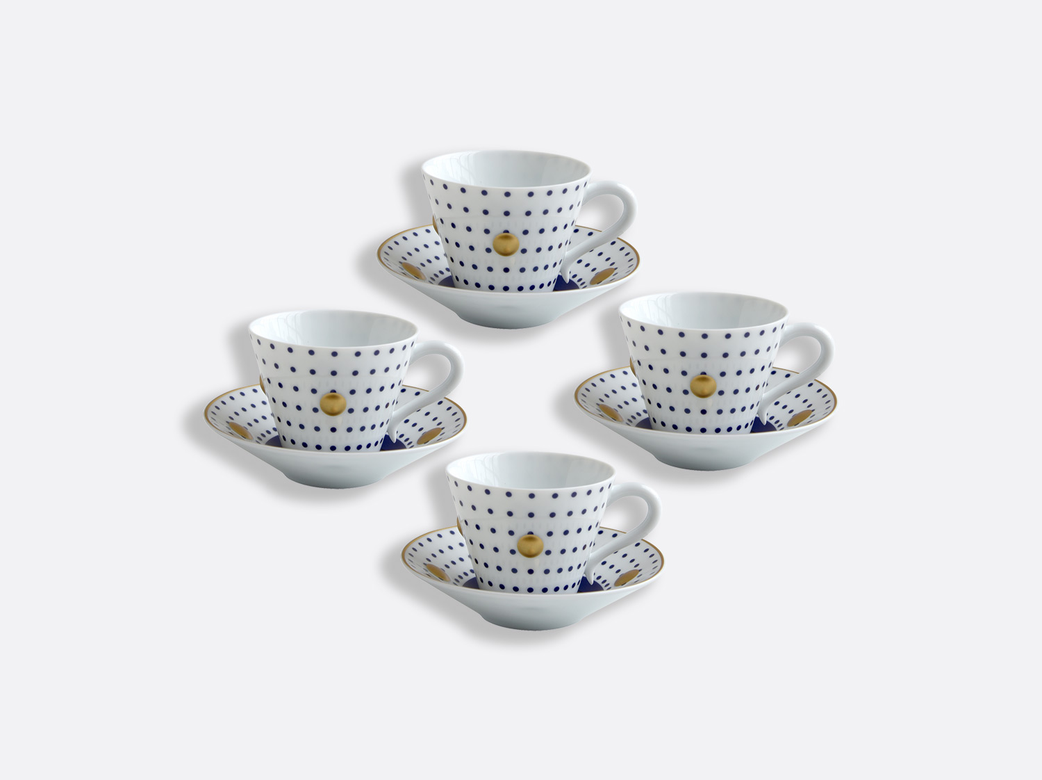 China Set of Night blue cups and saucers 13 cl - Coffret de 4 of the collection Knossos - Olivier Gagnère | Bernardaud