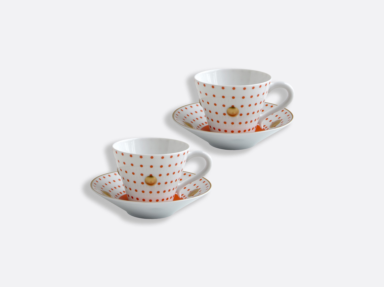 China Set of Brick red cups and saucers 13 cl - Coffret de 2 of the collection Knossos - Olivier Gagnère | Bernardaud