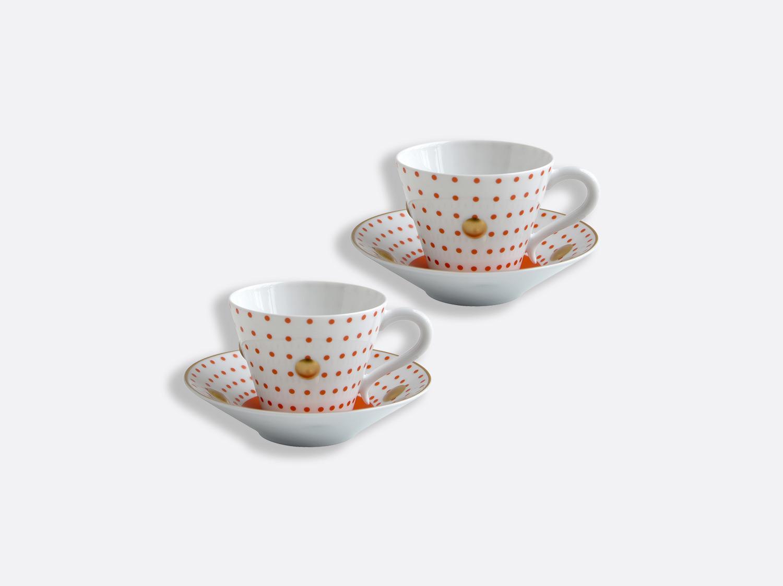 Coffret de tasses et soucoupes brique 13 cl - Coffret de 2 en porcelaine de la collection Knossos - Olivier Gagnère Bernardaud