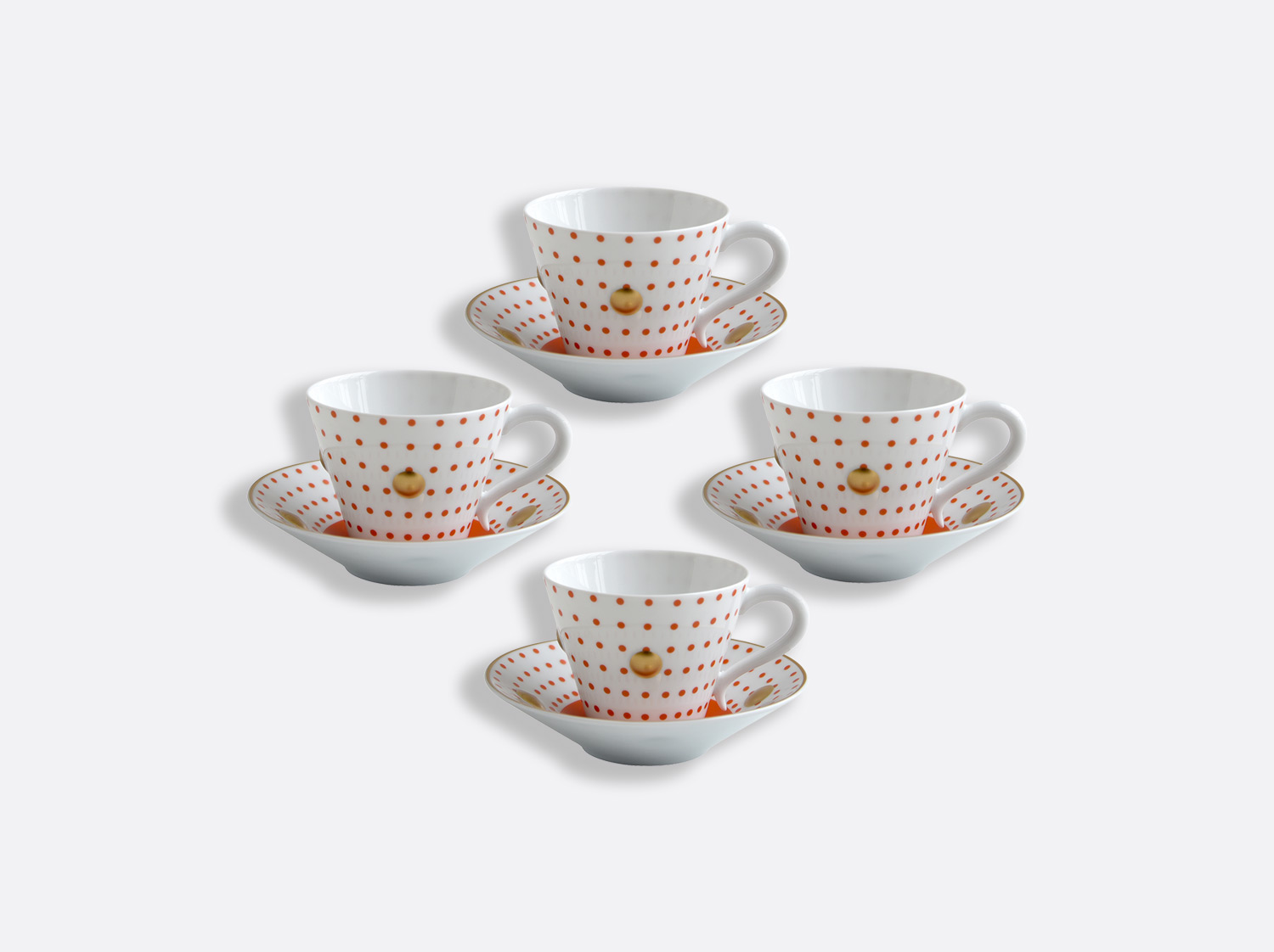 China Set of Brick red cups and saucers 13 cl - Coffret de 4 of the collection Knossos - Olivier Gagnère | Bernardaud