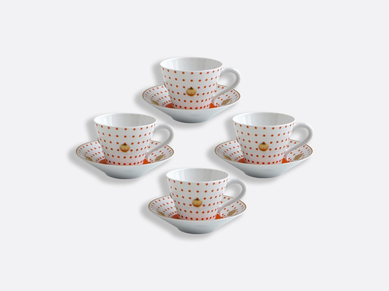 Coffret de tasses et soucoupes brique 13 cl - Coffret de 4 en porcelaine de la collection Knossos - Olivier Gagnère Bernardaud