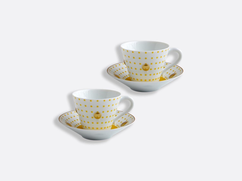 Coffret de tasses et soucoupes jaune 13 cl - Coffret de 2 en porcelaine de la collection Knossos - Olivier Gagnère Bernardaud