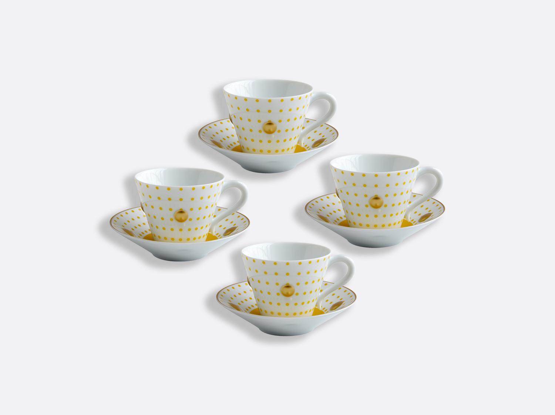 Coffret de tasses et soucoupes jaune 13 cl - Coffret de 4 en porcelaine de la collection Knossos - Olivier Gagnère Bernardaud