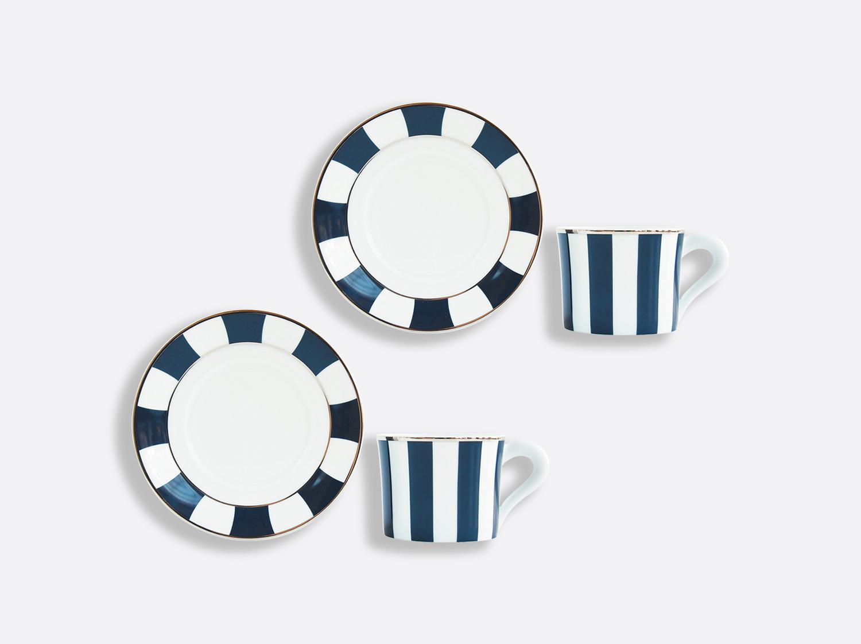 Coffret de tasses & soucoupes thé 20 cl en porcelaine de la collection Galerie Royale Bleu Nuit Bernardaud
