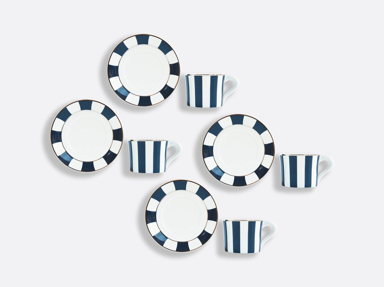 Coffret de tasses & soucoupes thé 20 cl - Coffret de 4 en porcelaine de la collection Galerie Royale Bleu Nuit Bernardaud