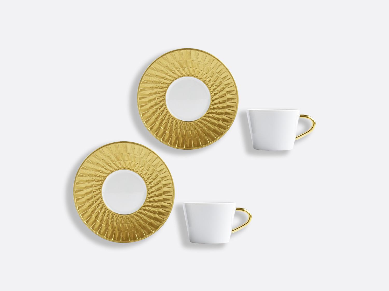 Coffret de tasses & soucoupes café 8 cl - Coffret de 2 en porcelaine de la collection Twist or Bernardaud