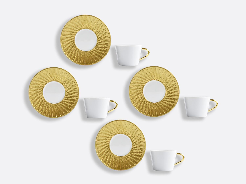 Coffret de tasses & soucoupes café 8 cl - Coffret de 4 en porcelaine de la collection Twist or Bernardaud