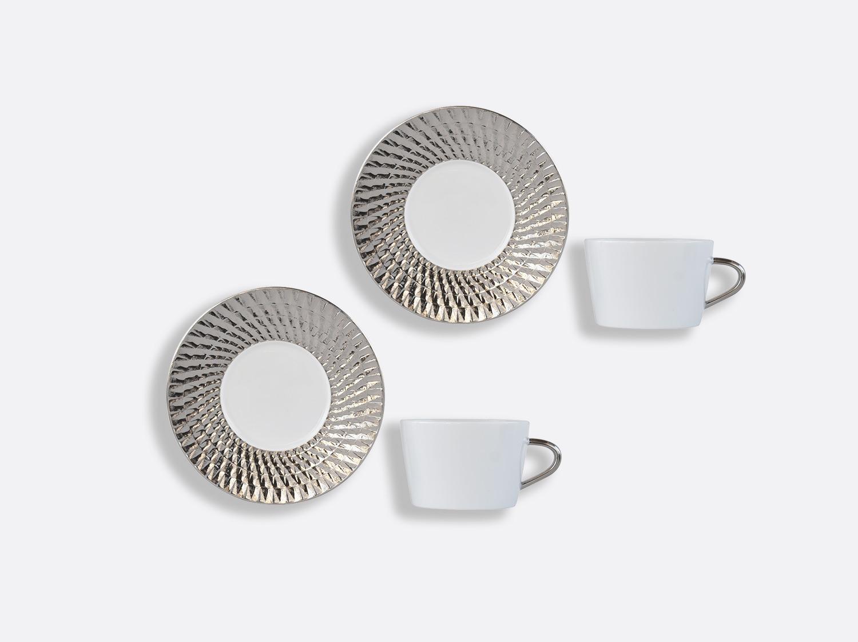 Coffret de tasses & soucoupes thé 20 cl - Coffret de 2 en porcelaine de la collection Twist platine Bernardaud