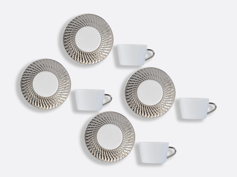 Coffret de tasses & soucoupes thé 20 cl - Coffret de 4 en porcelaine de la collection Twist platine Bernardaud