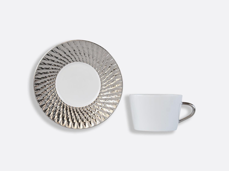 Coffret de tasses & soucoupes thé 20 cl - A l'unité en porcelaine de la collection Twist platine Bernardaud