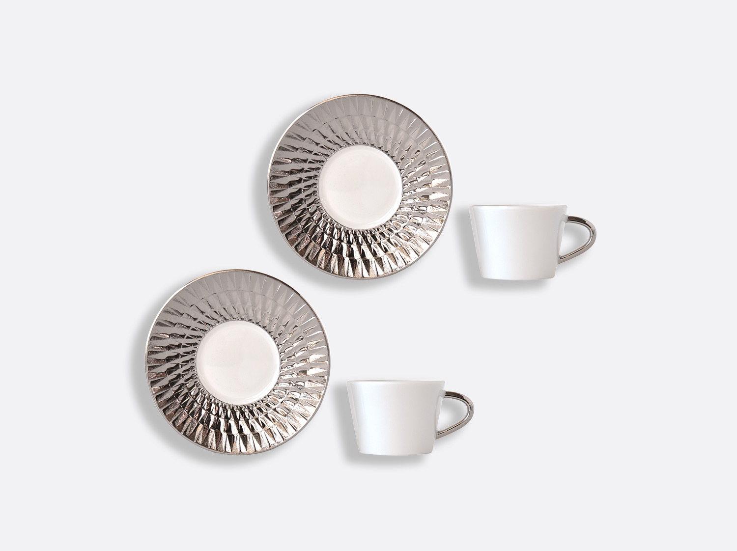 Coffret de tasses & soucoupes café 8 cl - Coffret de 2 en porcelaine de la collection Twist platine Bernardaud