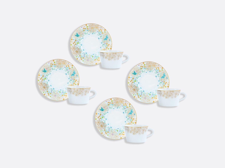 Coffret de tasses & soucoupes thé 20 cl - Coffret de 4 en porcelaine de la collection FÉERIE - MICHAËL CAILLOUX Bernardaud