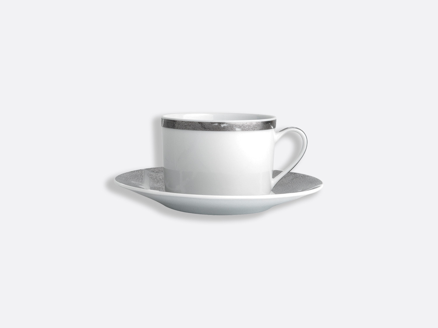 China Tea cup and saucer gift box - 15 cl - Per unit of the collection Silver leaf | Bernardaud