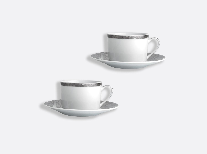 Coffret de tasses & soucoupes thé 15 cl - Coffret de 2 en porcelaine de la collection Feuille d argent Bernardaud