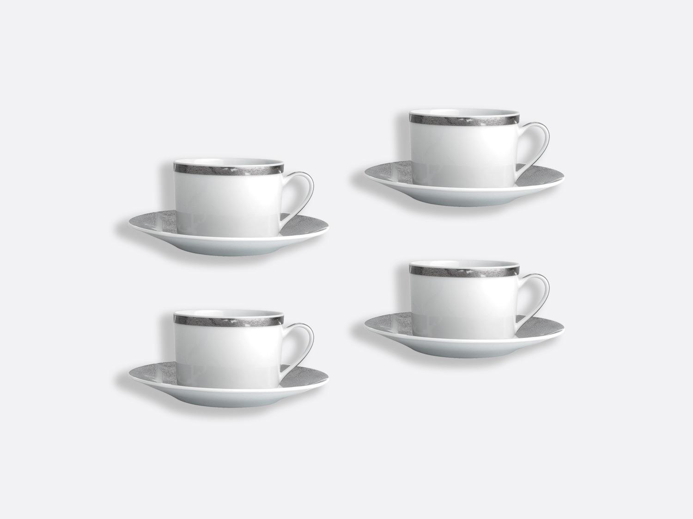 Coffret de tasses & soucoupes thé 15 cl - Coffret de 4 en porcelaine de la collection Feuille d argent Bernardaud