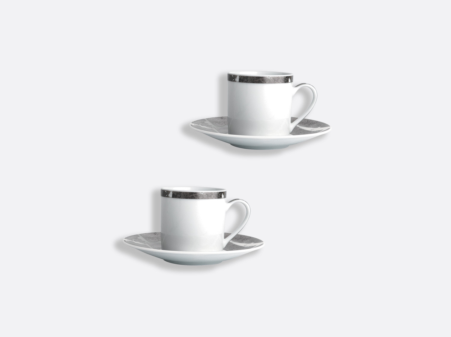 China Coffee cup and saucer gift box - 8 cl - Set of 2 of the collection Silver leaf | Bernardaud