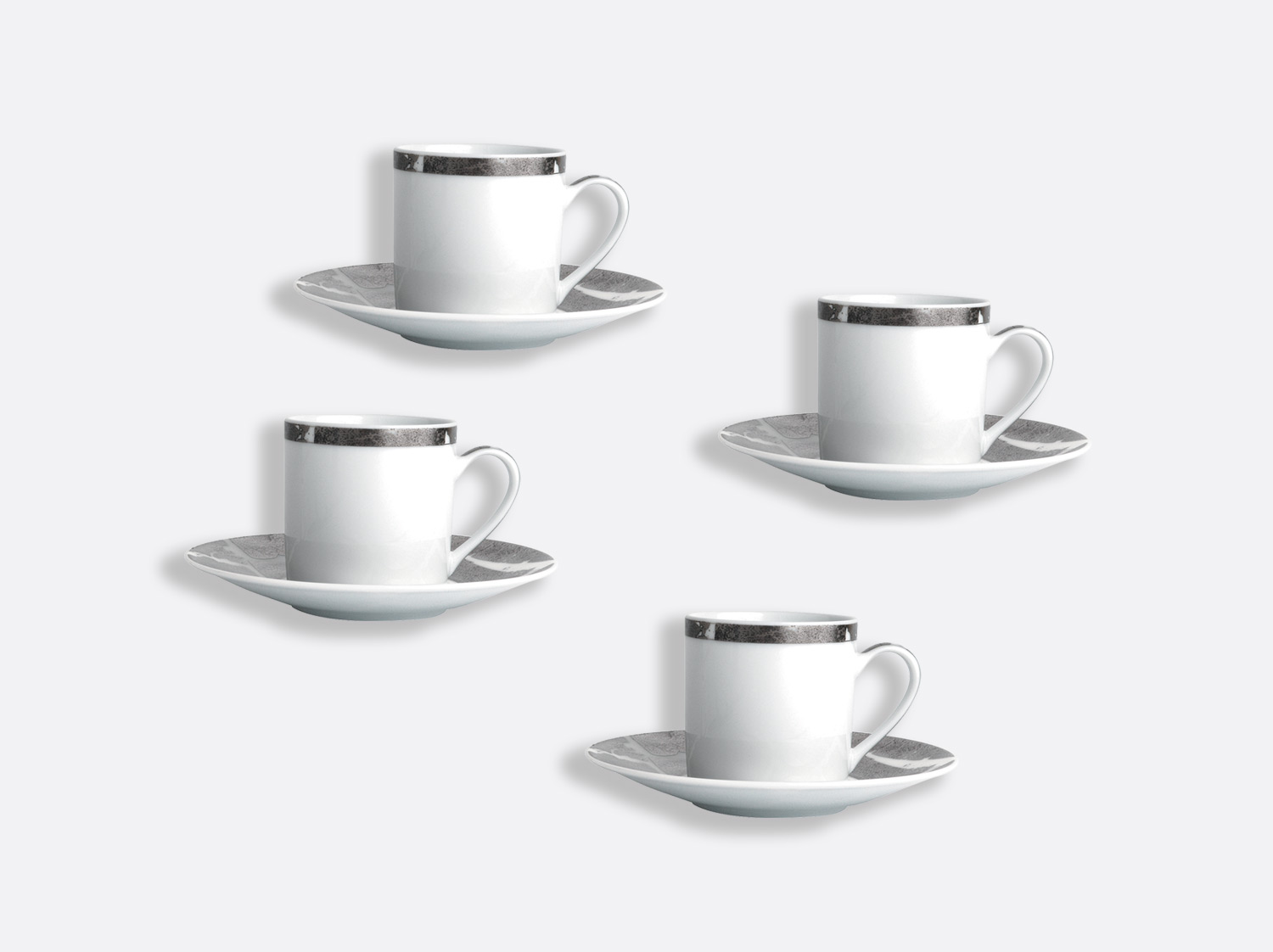 China Coffee cup and saucer gift box - 8 cl - Set of 4 of the collection Silver leaf | Bernardaud