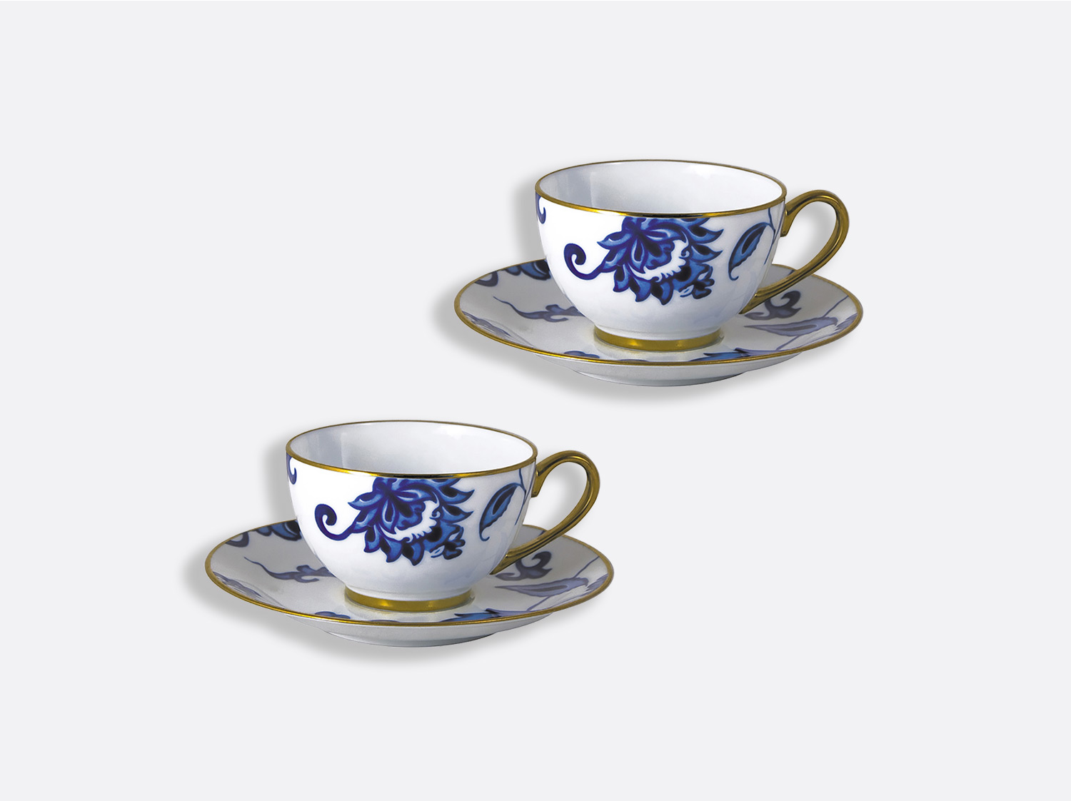 Coffret de tasses & soucoupes thé 13 cl - Coffret de 2 en porcelaine de la collection Prince bleu Bernardaud