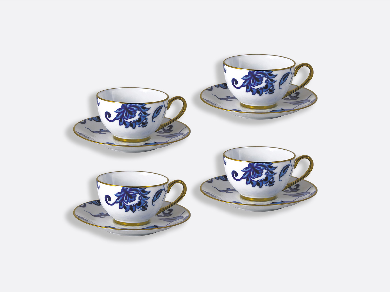 Coffret de tasses & soucoupes thé 13 cl - Coffret de 4 en porcelaine de la collection Prince bleu Bernardaud