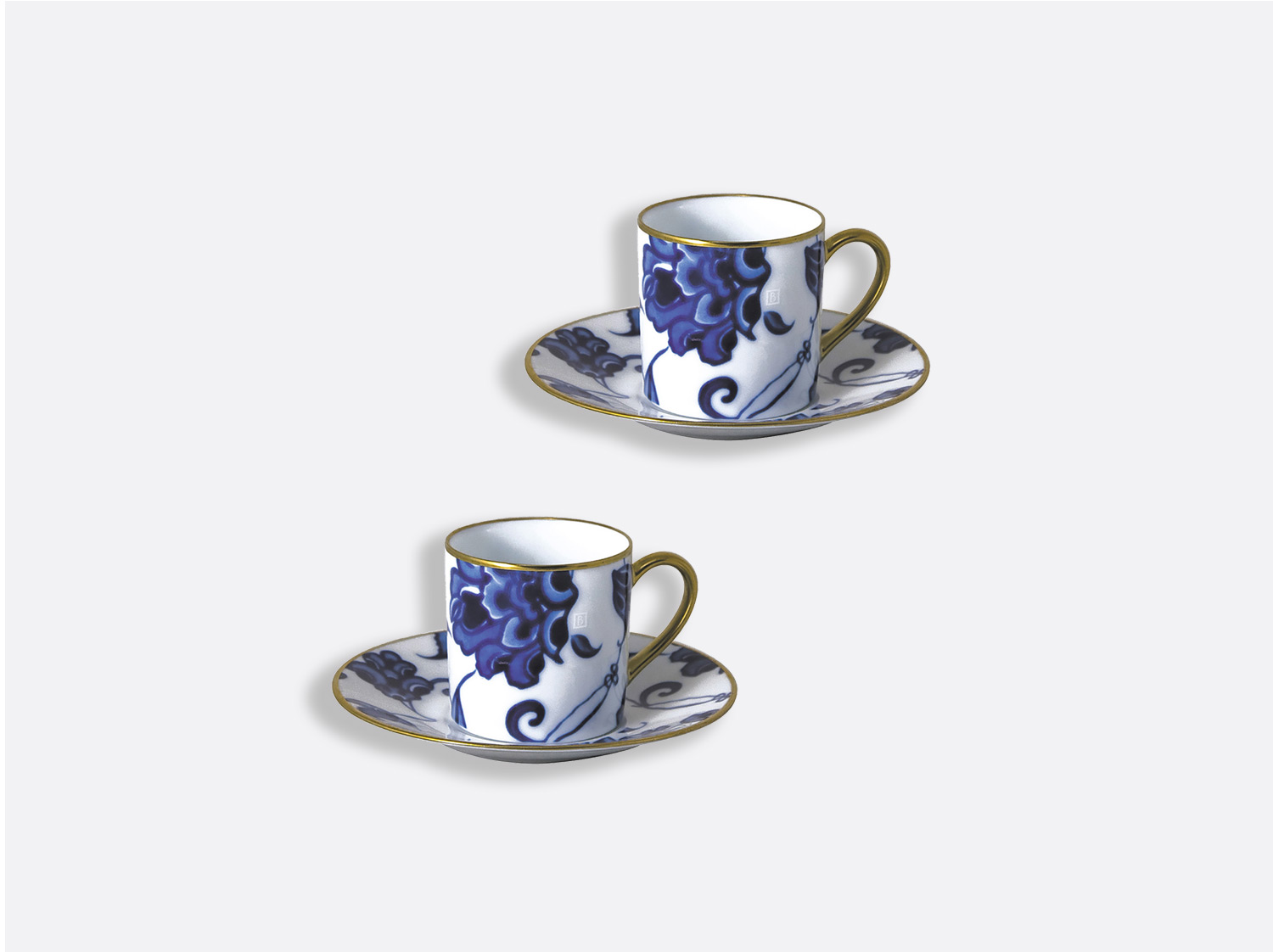 Coffret de tasses & soucoupes café 8 cl - Coffret de 2 en porcelaine de la collection Prince bleu Bernardaud