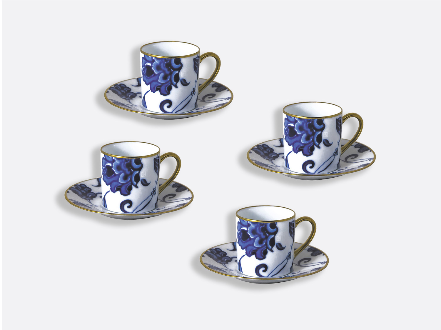 Coffret de tasses & soucoupes café 8 cl - Coffret de 4 en porcelaine de la collection Prince bleu Bernardaud