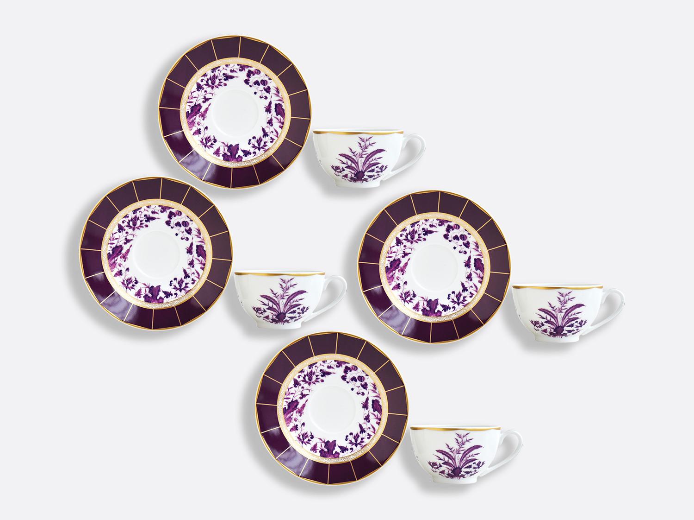 Coffret de tasses & soucoupes thé 13 cl - Coffret de 4 en porcelaine de la collection PRUNUS Bernardaud