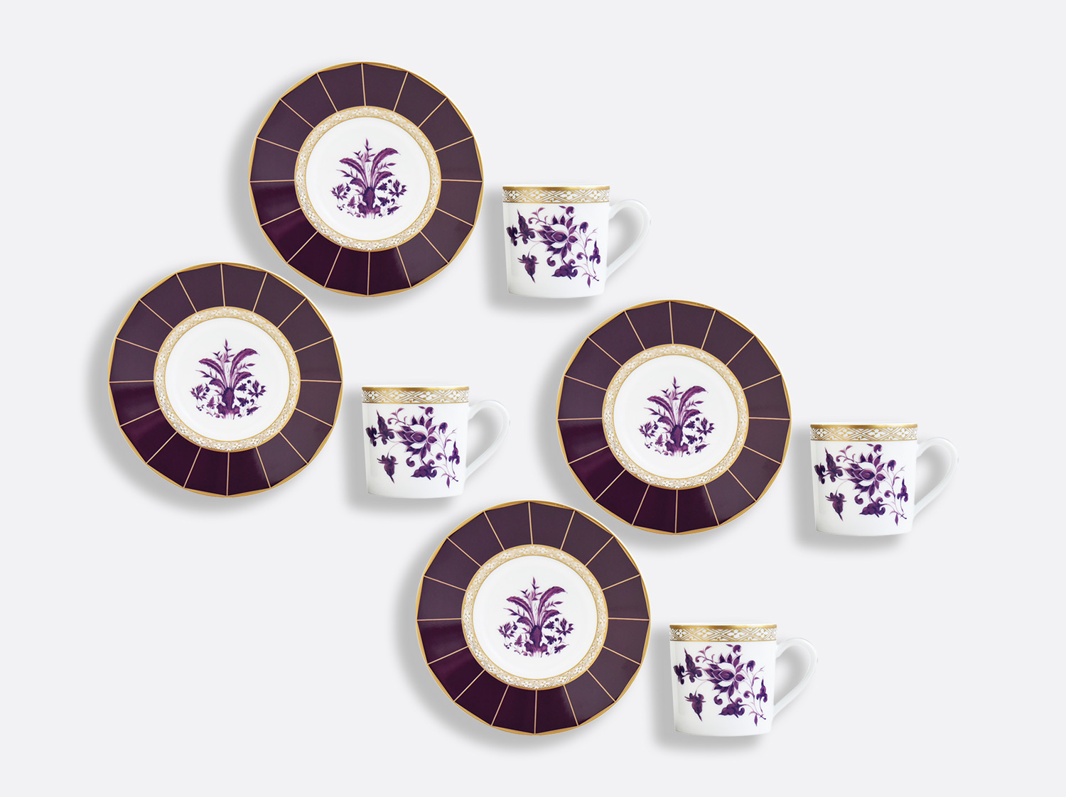 China Espresso cup and saucer gift box - 2.8 Oz - Set of 4 of the collection PRUNUS | Bernardaud