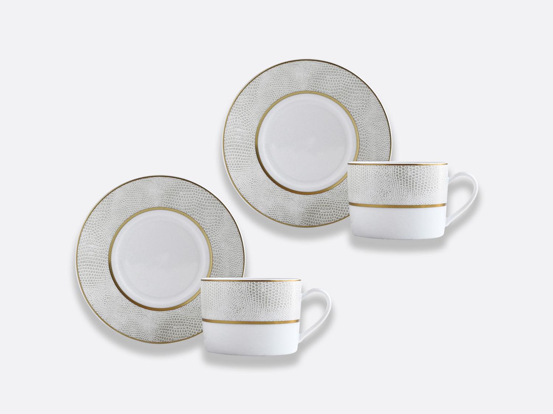 Coffret de tasses & soucoupes thé 15 cl - Coffret de 2 en porcelaine de la collection Sauvage or Bernardaud