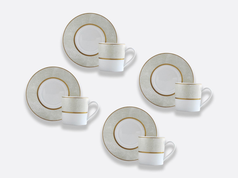 Coffret de tasses & soucoupes café 8 cl - Coffret de 4 en porcelaine de la collection Sauvage or Bernardaud