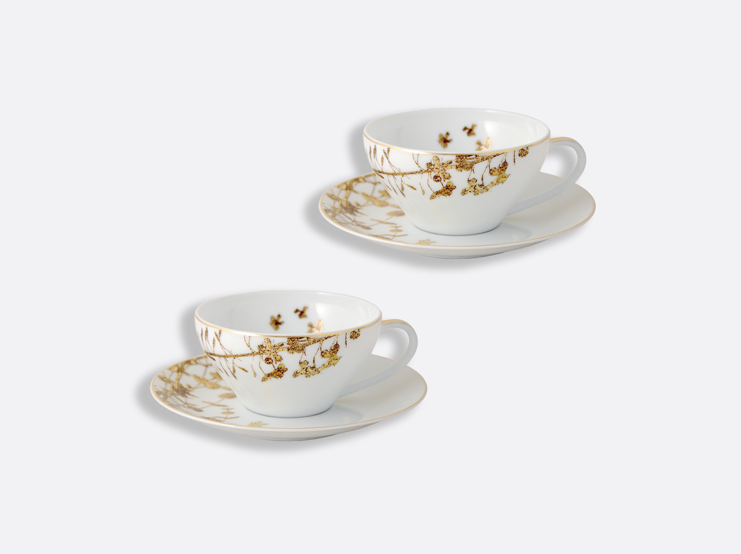 China Tea cup and saucer gift box - 15 cl - Coffret de 2 of the collection Vegetal gold | Bernardaud
