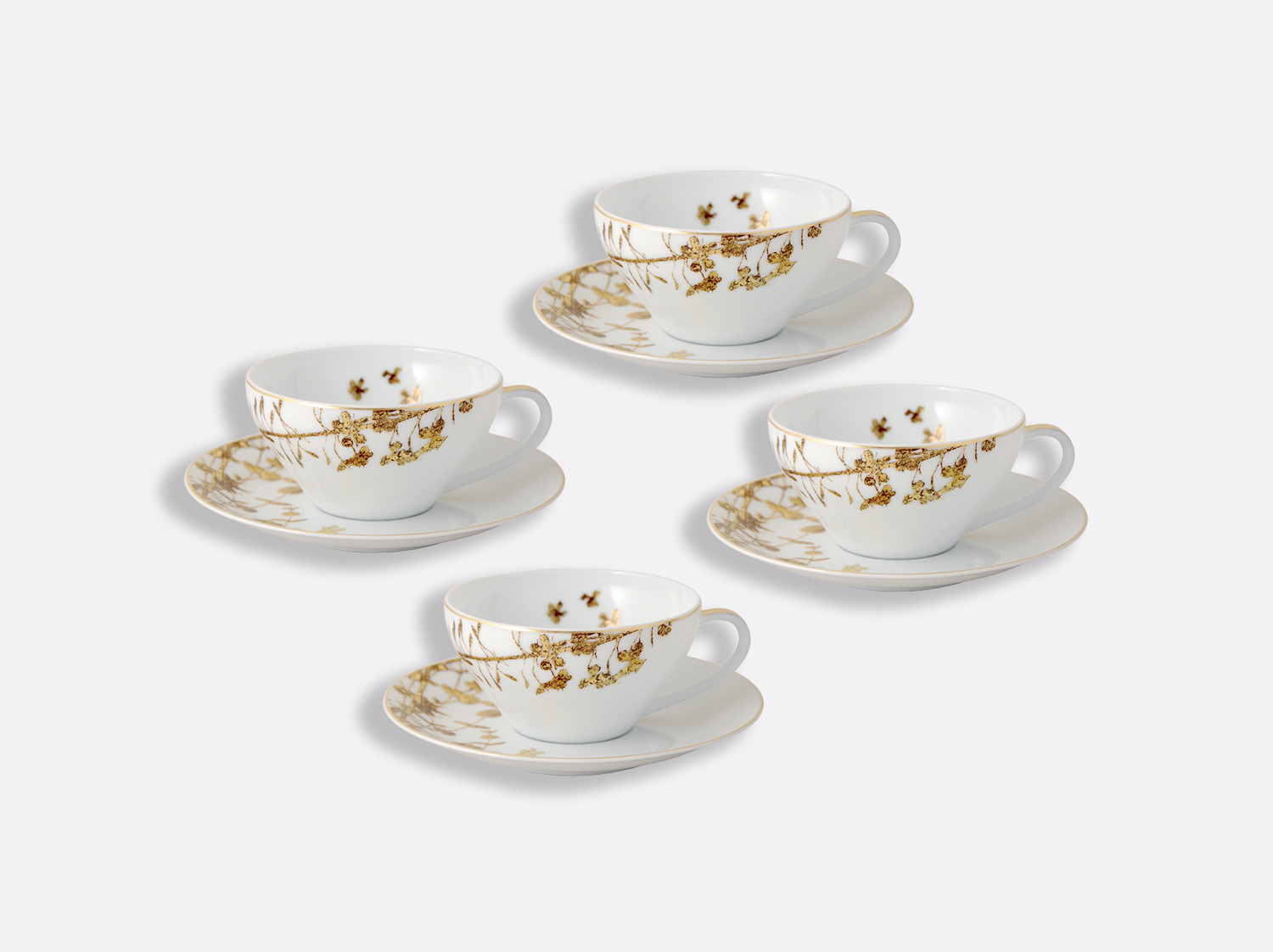 China Tea cup and saucer gift box - 15 cl - Coffret de 4 of the collection Vegetal gold | Bernardaud