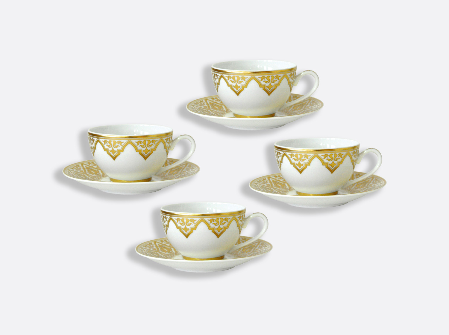 Coffret de tasses & soucoupes thé 13 cl - Coffret de 4 en porcelaine de la collection Venise Bernardaud