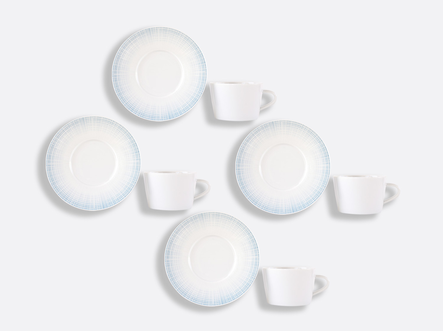 Coffret de tasses & soucoupes thé 17 cl - Coffret de 4 en porcelaine de la collection Saphir Bleu Bernardaud