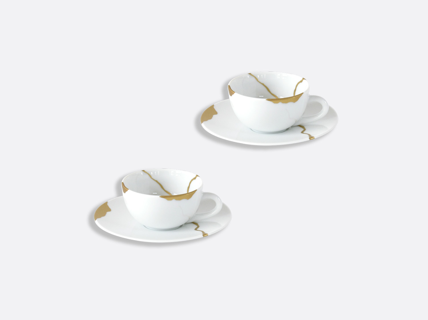 China Set of espresso cups and saucers 10 cl of the collection Kintsugi | Bernardaud