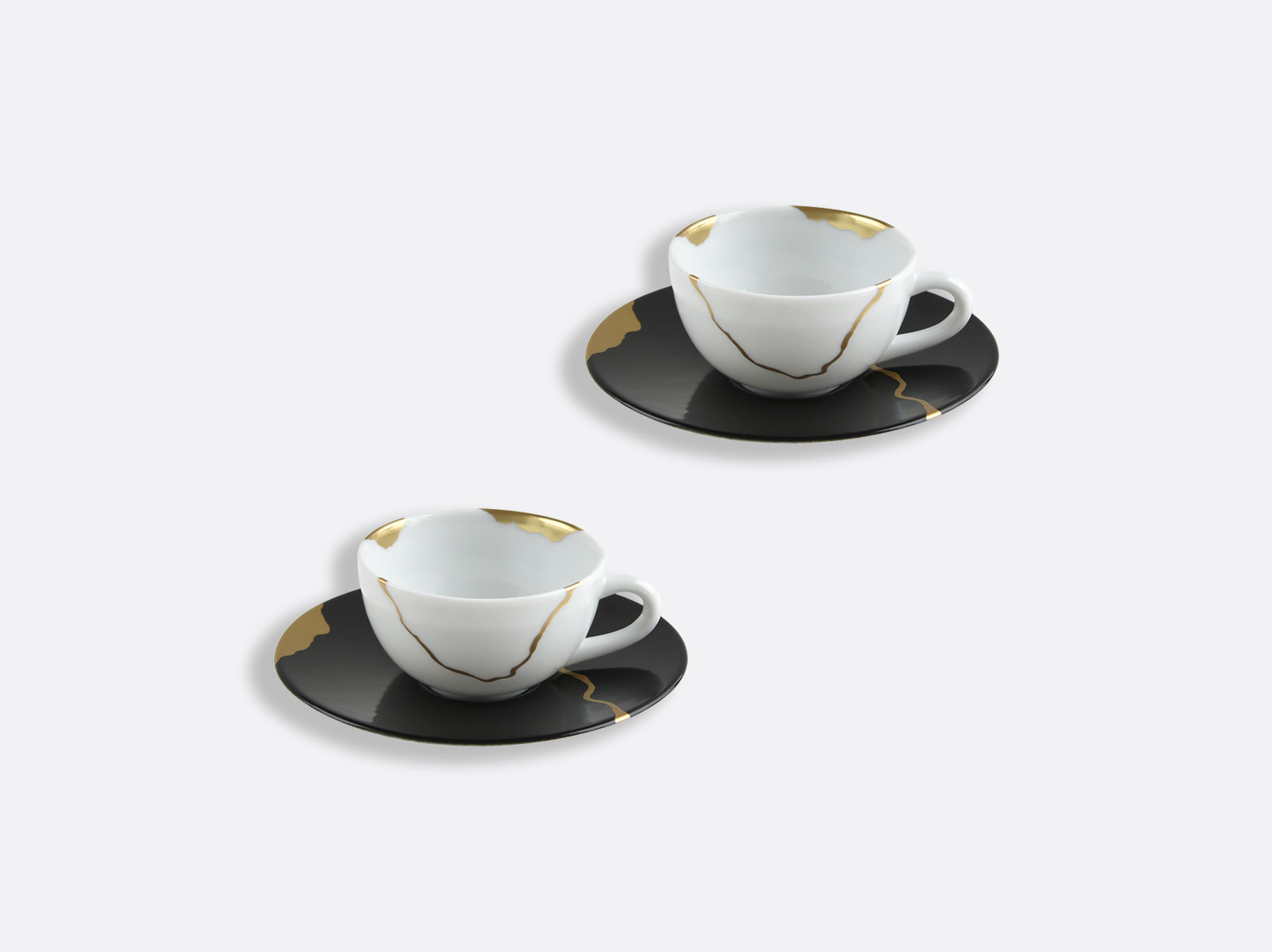 China Set of espresso cups and saucers 10 cl of the collection KINTSUGI Charbon | Bernardaud