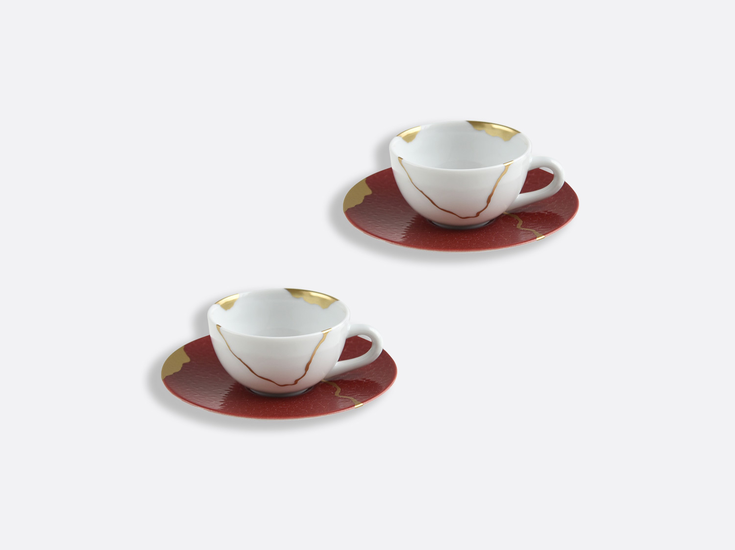 China Set of espresso cups and saucers 10 cl of the collection KINTSUGI Rouge Empereur | Bernardaud