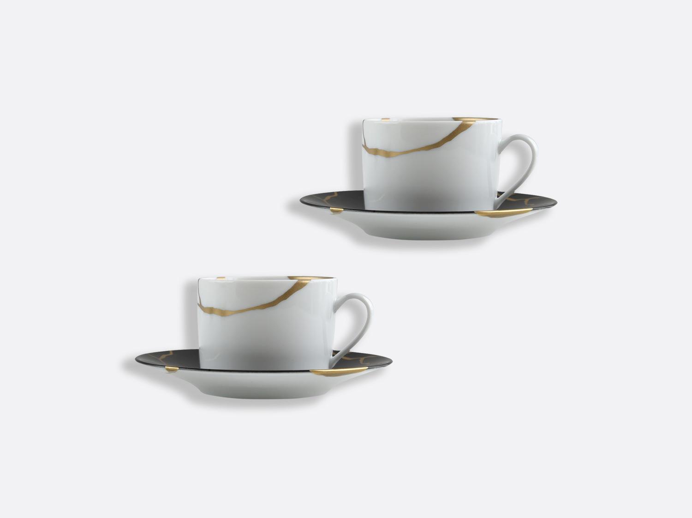 China Set of tea cups and saucers 15 cl Charbon of the collection KINTSUGI Charbon | Bernardaud
