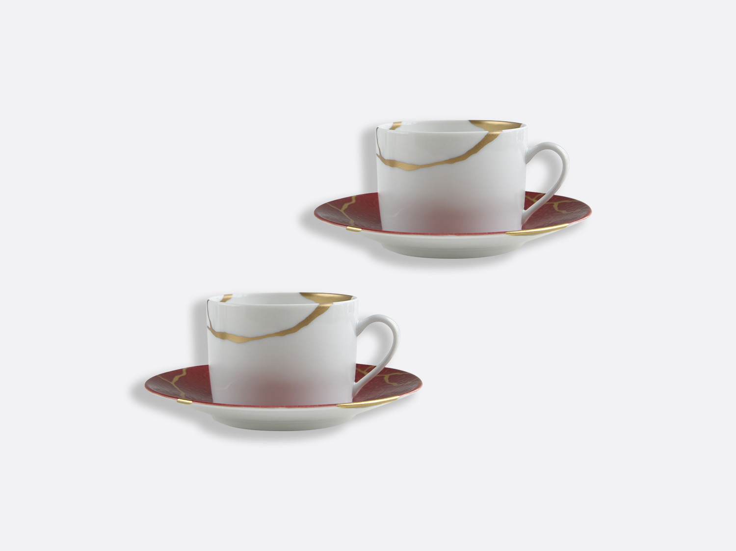 China Set of tea cups and saucers 15 cl Rouge Empereur of the collection KINTSUGI Rouge Empereur | Bernardaud